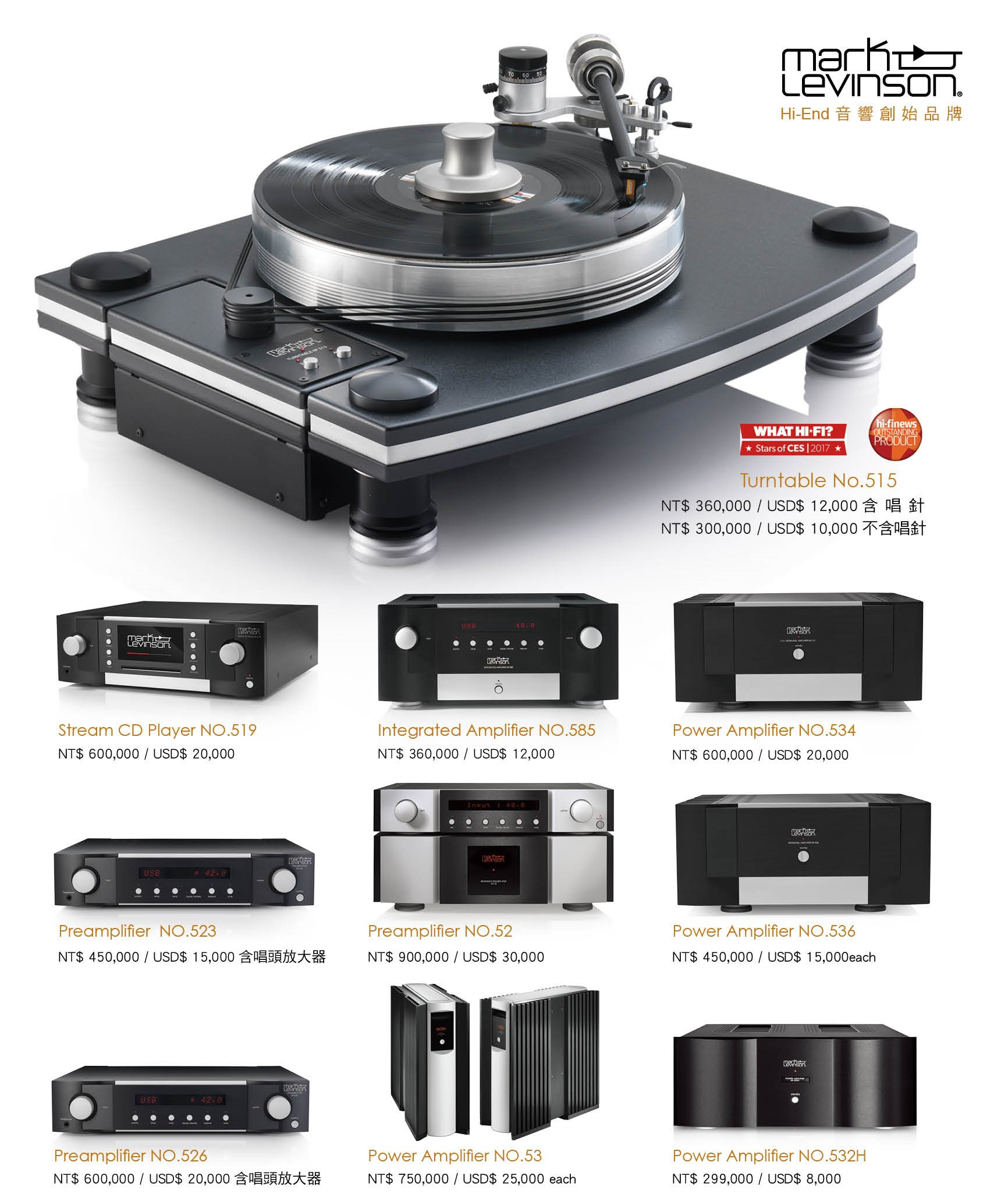 Mark Levinson New Price Catalog